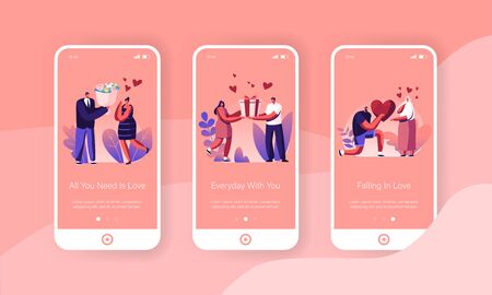 Love Mobile App Page Onboard Screen Set. Young Man Giving Present to Happy Surprised Woman on Valentines Day