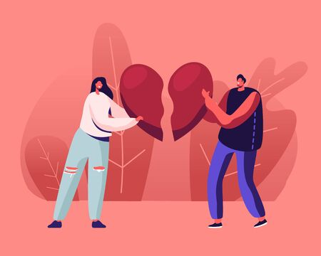 Heartbroken Couple Parting, Divorce. Sad Young Man and Woman Trying to Put Together Parts of Broken Heart Illustration