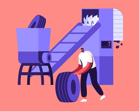 Man Put Used Automotive Tires on Conveyor Belt to be Crushed in Small Pieces for Making Rubber Products. Process of Recycling and Reusing Old Tires Car Wheel Rubbish Cartoon Flat Vector Illustration