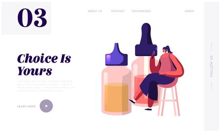 Bad Habit, Vaping Activity Website Landing Page. Young Woman Sitting at Stool near Huge Bottles with Liquids for E-Cigs