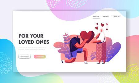 Homme faisant une proposition à la page de destination du site Web de la femme. Petit ami aimant présentant un cœur énorme à sa petite amie