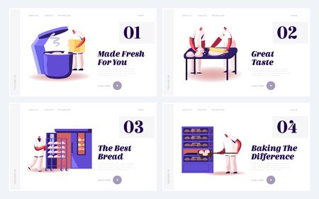 Bread Cooking on Factory Website Landing Page Set. Professional Bakers Prepare Dough, Kneading and Baking Buns and Mealy Production on Plant Workshop Web Page Banner. Cartoon Flat Vector Illustration