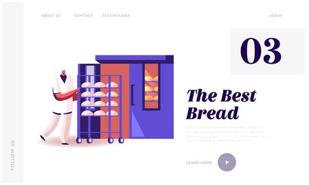Bakehouse Factory, Website Landing Page. Worker in White Robe and Hat Rolling Trolley with Raw Loafs into Huge Oven for Baking. Bread Manufacture Web Page Banner. Cartoon Flat Vector Illustration Ilustrace