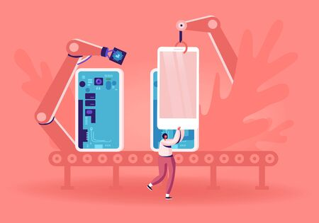 Huge Robot Arms Assemble Smartphone or Tablet on Conveyor Put Microcircuits and Chips inside. Customer Take Mobile Phone from Belt on Tech Industry Production Factory. Cartoon Flat Vector Illustration Imagens - 136472294