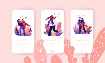 Loving Hearts Togetherness, Emotion Connection Mobile App Page Onboard Screen Set. Man Holding Woman on Hands Illustration