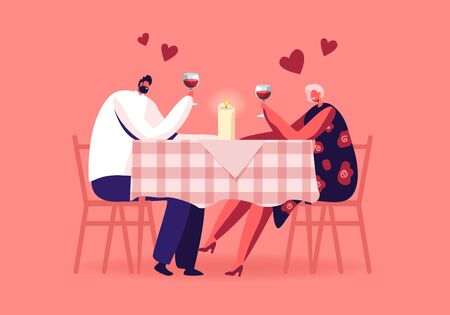 Romantic Relations, Meeting. Happy Loving Couple of Male and Female Characters Dating in Restaurant. Declaration of Love, Young Man and Woman Holding Glasses in Hands. Cartoon Flat Vector Illustration