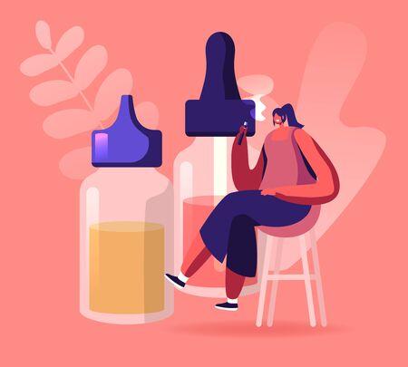 Young Woman Sitting at High Stool near Huge Bottles with Liquids for Electronics Cigarettes Enjoying Vape Smoking. Bad Habit, Hipster Lifestyle, Vaping Activity Cartoon Flat Vector Illustration