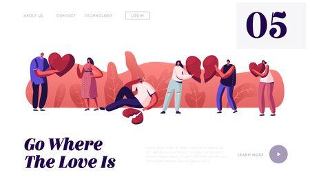 Strona docelowa strony zakochanych w końcu relacji miłosnych. Młody mężczyzna i kobieta wyciągnąć złamane części serca obwiniając się nawzajem Poczuj wielki smutek rozstanie baner strony internetowej. Ilustracja kreskówka płaski wektor Ilustracje wektorowe