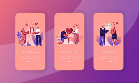 Human Relations, Loving Couple Giving Gifts Mobile App Page Onboard Screen Set. Man Presenting to Woman Heart, Bouquet and Giftbox Concept for Website or Web Page, Cartoon Flat Vector Illustration