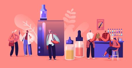 Vape Shop Business Concept. Urban Hipster in Store Selling Electronic Cigarette Products, Vaporizers Selection of E-liquids Buying and Enjoy Vaping Breathe in Nicotine Cartoon Flat Vector Illustration