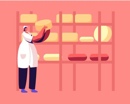 Dairy Food Producing and Retail Industry. Woman Factory Worker, Technologist Put Round Cheese Heads on Racks for Aging and Getting Prepared. Cheesemaking Process Cartoon Flat Vector Illustration
