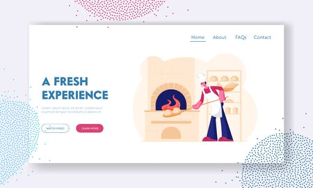 Handmade Pastry Shop Website Landing Page. Baker Wearing White Apron and Toque Put Raw Bread for Baking in Burning Oven in Restaurant or Bakehouse Web Page Banner. Cartoon Flat Vector Illustration