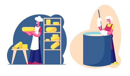 Cheese Factory, Dairy Production Industry Plant. Worker Mixing Fresh Milk in Creamery or Huge Mixer, Put Bricks on Shelf on Modern Manufactory Machinery Food Producing Cartoon Flat Vector Illustration