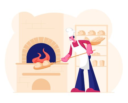 Young Man Baker Wearing White Apron and Toque Put Raw Bread for Baking in Burning Oven on Restaurant or Bakehouse Kitchen. Handmade Pastry and Dough Production Shop. Cartoon Flat Vector Illustration Illustration