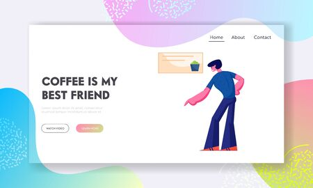 Coffee Break Website Landing Page. Young Man Customer Buying Meal in Cafe Pointing on Showcase Ordering Food at Counter Desk. Cafeteria Service Web Page Banner. Cartoon Flat Vector Illustration