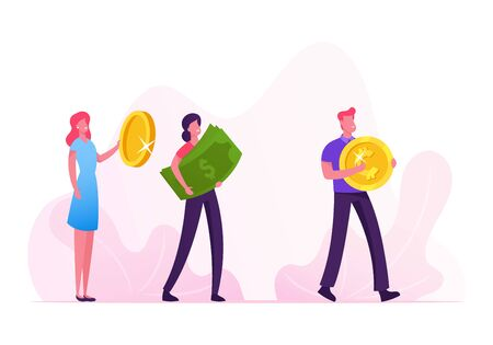 Group of People Stand in Queue Holding Huge Golden Coins and Dollar Banknotes Going to Buy Something Illustration