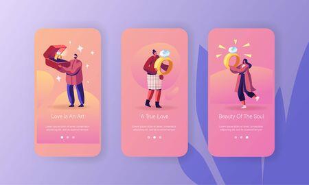 Ensemble d'écrans embarqués de la page de l'application mobile sur les fiançailles, le mariage. L'homme donne des bijoux à sa petite amie. Femmes tenant de belles bagues