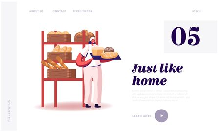 Pastry and Baked Food Production Manufacture Website Landing Page. Woman Baker in Sterile Uniform and Hat Holding Tray with Various Fresh Baked Bread Web Page Banner. Cartoon Flat Vector Illustration Vektoros illusztráció