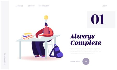 Woman Apply Natural Supplements for Health and Mind Website Landing Page. Girl Student Sitting at Desk and Studying with Glowing Light Bulb over Head Web Page Banner. Cartoon Flat Vector Illustration