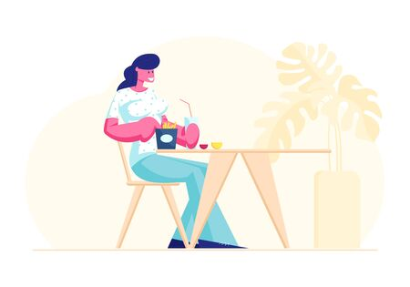 Woman Visiting Fastfood Cafe Concept. Female Character Sit at Table Eating Fried Potato and Drinking Soda Beverage in Fast Food Restaurant on Weekend or Coffee Break Cartoon Flat Vector Illustration