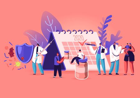 People Waiting for Vaccination Stand near Huge Calendar with 2020 Check Mark. Idea of Vaccine for Protection from Disease, Immunization. Doctor Put Injection to Kid. Cartoon Flat Vector Illustration
