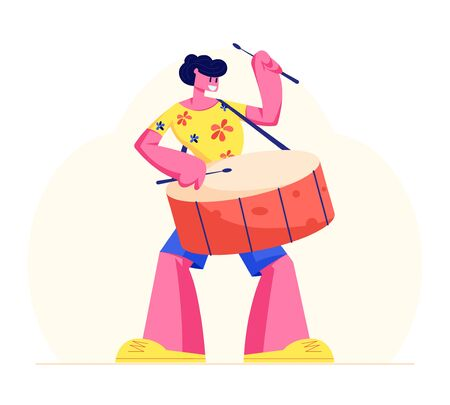 Excited Drummer Playing Music with Sticks on Drums. Talented Musician Character Performing on Stage or Rio Carnival with Percussion Instrument. Entertainment Show Cartoon Flat Vector Illustration