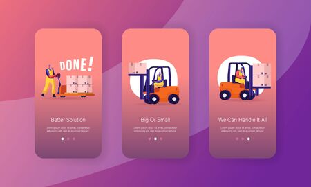 Freight Shipping, Delivery and Logistics Mobile App Page Onboard Screen Set. Worker Lifting Cargo on Forklift Machine and Manual Cart Concept for Website or Web Page, Cartoon Flat Vector Illustration Ilustração