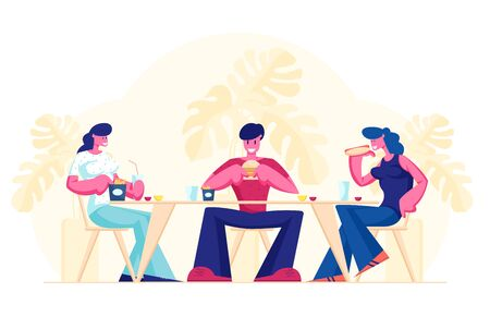 Friends Meeting in Fastfood Cafe or Bar. Company of Young People Having Meal in Modern Restaurant Eating Fast Food, Communicating, Chatting, Spending Time on Weekend Cartoon Flat Vector Illustration Ilustração