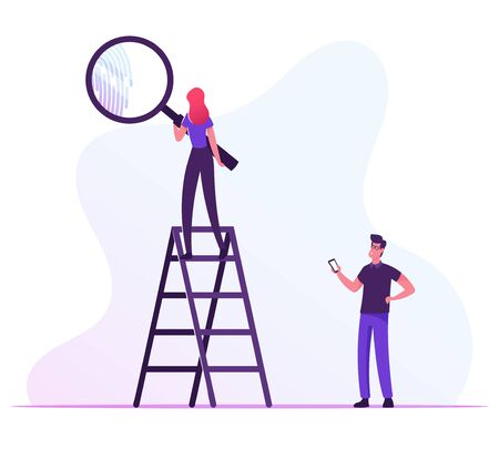 Woman Stand on Ladder Looking on Finger Print through Huge Magnifying Glass, Man Holding Smartphone in Hand. Person Identification, Id Access and Security System. Cartoon Flat Vector Illustration