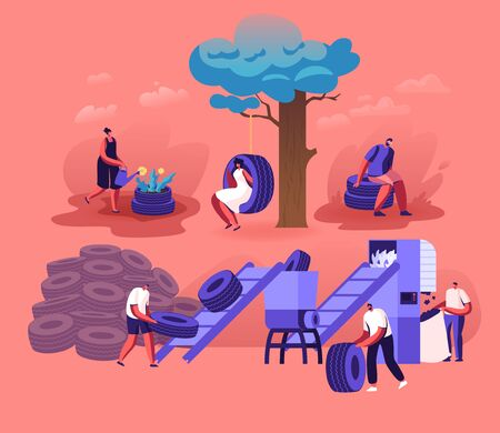 People Using and Recycling Old Automobile Tires Making Flowerbed and Swing at Home Yard, Grinding on Plant. Environment Protection Recycle Industry Trash Reuse Concept Cartoon Flat Vector Illustration