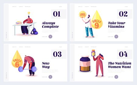 People Apply Omega Oil Website Landing Page. Web Page Banner. Male Female Characters Healthy Lifestyle with Natural Fat Ingredient DHA, EPA Polyunsaturated Fatty Acid Cartoon Flat Vector Illustration 版權商用圖片 - 136912115