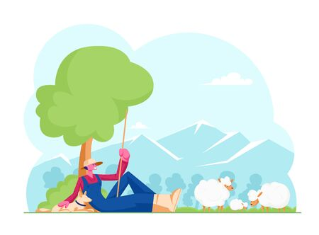 Young Man in Chaff Hat and Blue Overalls Holding Long Stick Sitting with Dog under Tree Grazing Sheep. Shepherd Male Character, Villager or Farmer Working Outdoors. Cartoon Flat Vector Illustration