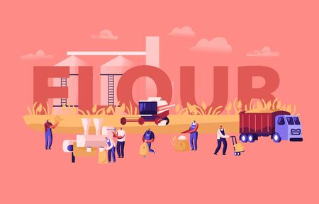 Flour Producing Concept. Wheat Manufacture Process, Bread Industry. People Growing, Mowing and Gathering Cereal Harvest, Agriculture Poster Banner Flyer Brochure. Cartoon Flat Vector Illustration Ilustração
