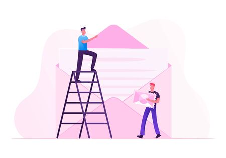 People Sending Mail to Friends. Tiny Man Stand on Ladder Put Paper Letter with Text into Huge Envelope, Character Going to Stick Postage Stamp on Writing Message. Cartoon Flat Vector Illustration