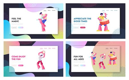 Music Players Performing on Rio Carnival Website Landing Page. Young Men Playing Ukulele Guitar, Tambourine and Drum. Brazilian Festival and Culture Web Page Banner. Cartoon Flat Vector Illustration 写真素材 - 137133910