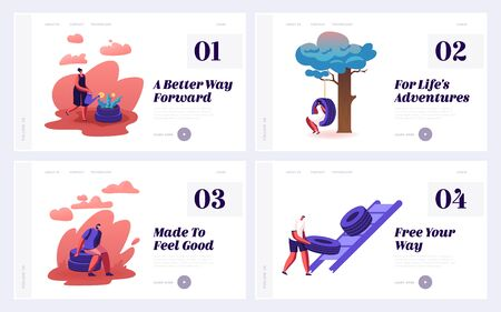 People Using and Recycling Old Automobile Tires Website Landing Page Set. Recycle and Reuse Trash Tyres Making Flowerbed, Chair and Swing at Home Yard Web Page Banner. Cartoon Flat Vector Illustration Illusztráció