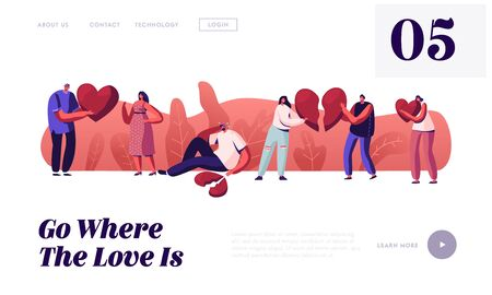 Lovers in End of Loving Relations Website Landing Page. Young Man and Woman Pull Apart Broken Heart Parts