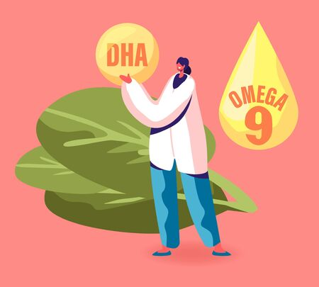 Doctor Female Character Wearing White Robe Holding Huge Droplet of DHA Docosahexaenoic Acid Type of Omega Fat that Improve Many Aspects of Health from Brain to Heart. Cartoon Flat Vector Illustration  イラスト・ベクター素材