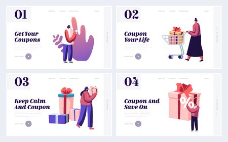 Price Off Day, Shopping Activity, Coupon Discount Offer Website Landing Page. People Buying Gifts and Presents for Holidays during Seasonal Sales Web Page Banner. Cartoon Flat Vector Illustration  イラスト・ベクター素材