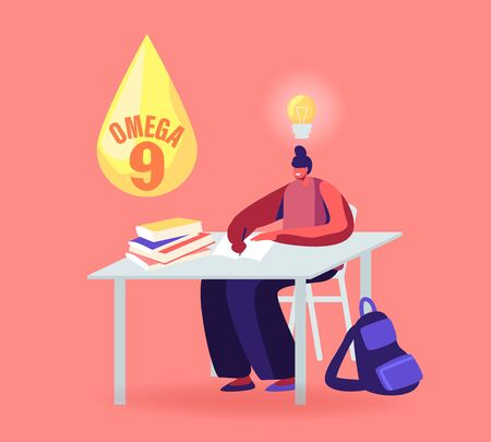 Girl Student Sitting at Desk and Studying with Glowing Light Bulb over Head and Droplet of Omega 9 Oil above. Woman Applying Natural Supplements for Health and Mind. Cartoon Flat Vector Illustration 向量圖像