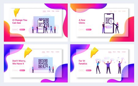 Internet Smart Technologies, Website Landing Page. People Use Mobile Application for Shopping and Generating Digital Pay Without Money Using Qr Code Web Page Banner. Cartoon Flat Vector Illustration Vettoriali