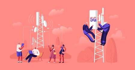 5g Technology Concept. Workers on Transmitter Tower Set Up High-speed Mobile Internet, City Dwellers Using New Generation Networks for Communication and Gadgets. Cartoon Flat Vector Illustration Vektorové ilustrace