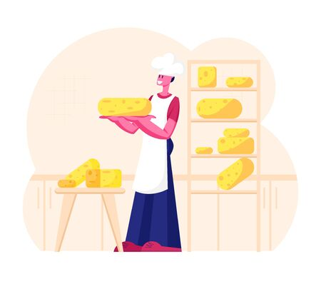 Cheesemaker Wearing White Apron and Toque Holding Round Cheese Standing near Shelves with Assortment