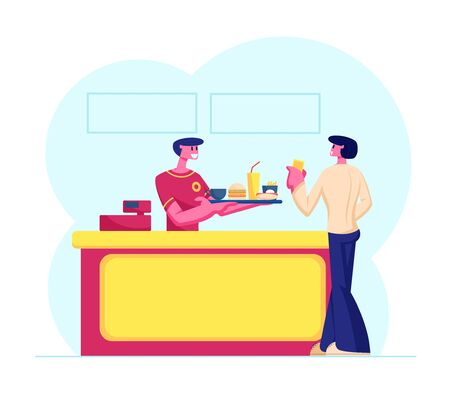 Young Man Customer Buying Fast Food Combo Set at Counter Desk with Friendly Salesman in Uniform Giving Tray with Hamburger, Fried Potato, Soda Drink, Hotdog and Coffee Cartoon Flat Vector Illustration