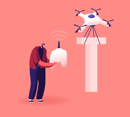 Happy Man Control Quadcopter which Carry Huge Letter T as Part of Thank You Typography. Male Character and Alphabet Element, Futuristic Technologies, Fun Spare Time Cartoon Flat Vector Illustration