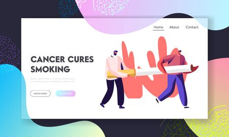 Smoking Addiction and Bad Unhealthy Habit Website Landing Page. Male Characters Carry Huge Cigarette. Addicted Men with Nicotine and Tobacco Product Web Page Banner. Cartoon Flat Vector Illustration