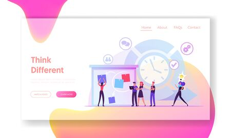 Agile Development Software Methodology Website Landing Page. People Sticking Papers on Big Organizer. Scrum Task Board Team Work Lifecycle Process Web Page Banner. Cartoon Flat Vector Illustration