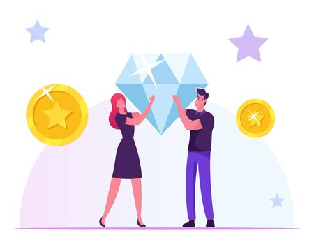 Loyalty Program for Regular Clients Concept. Man and Woman Hold Huge Brilliant in Hands with Golden Coins and Stars around. Purchase Benefit, Bonus System for Customer Cartoon Flat Vector Illustration