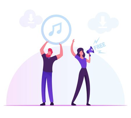 Free Download Services and Internet Content Piracy Concept. Woman Crying to Loudspeaker, Man Holding Music Icon above Head People Using Torrent for Transfer Files Cartoon Flat Vector Illustration