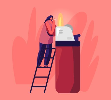 Tiny Woman Stand on Ladder Light Cigarette from Huge Burning Lighter Getting Pleasure from Smoking Addiction. Causing Harm to Health Problem, Cancer and Lung Disease Cartoon Flat Vector Illustration  イラスト・ベクター素材